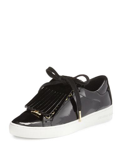 Keaton Kiltie Faux-Patent Sneaker, Black