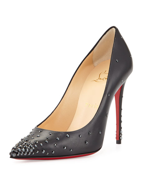 Christian Louboutin Degrastrass Leather 120mm Red Sole Pump, Black