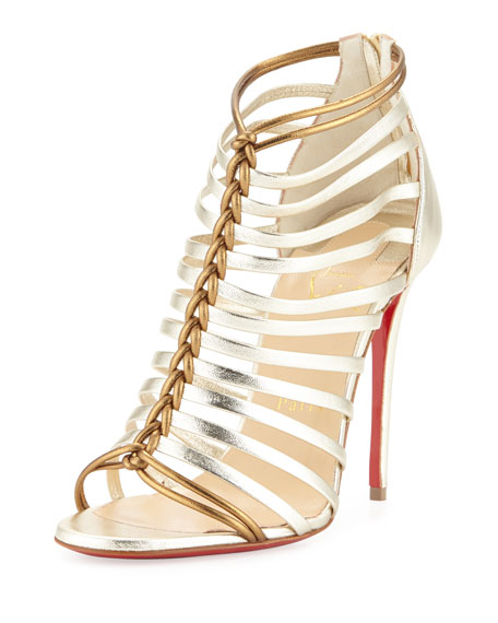 Christian LouboutinMilla Metallic Strappy Red Sole Bootie, Light