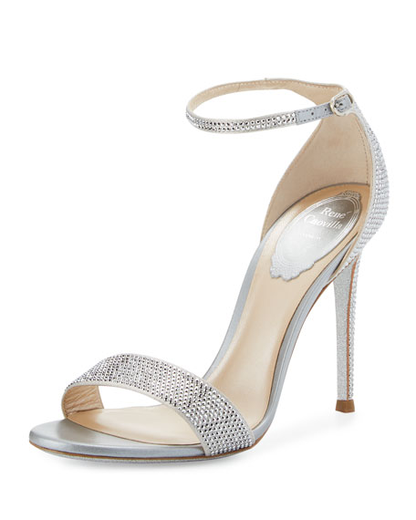 Rene Caovilla Crystal Ankle-Wrap 105mm Sandal, Silver