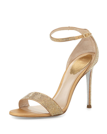 Rene Caovilla Crystal Ankle-Wrap 105mm Sandal, Gold