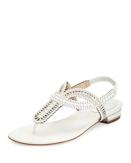 Rene Caovilla Pearly Crystal Flat Thong Sandal, Ivory