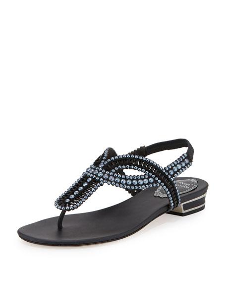 Rene Caovilla Pearly Crystal Flat Thong Sandal, Black