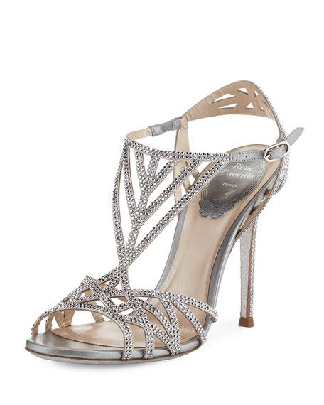 RENé CAOVILLA Crystal-Embellished Satin Strappy Sandals 2ULzbGre