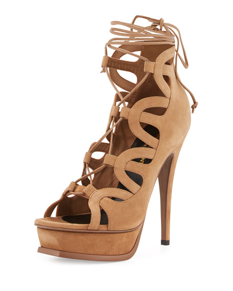 Saint Laurent Suede Platform Lace-Up Cage Sandal, Chamois