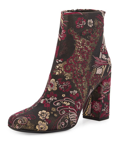 Babies Jacquard 90mm Boot, Black/Fuchsia