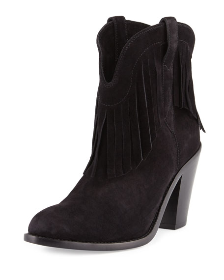 Saint Laurent Curtis Suede Fringe Western Boot, Nero
