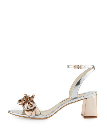 Lilico Floral Leather 60mm Sandal, Silver/Rose Gold