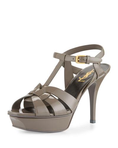 Tribute Patent Mid-Heel Sandal, Fog