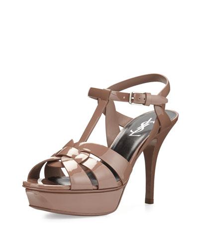 Tribute Patent Mid-Heel Sandal, Fard