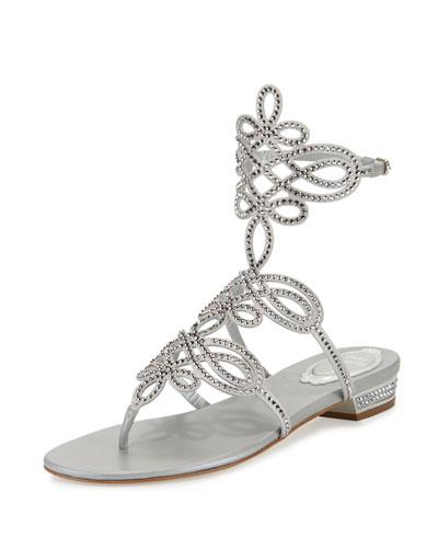 Crystal Laser-Cut Flat Sandal, Silver