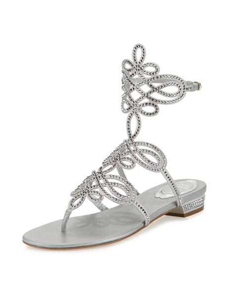 Rene Caovilla Crystal Laser-Cut Flat Sandal, Silver