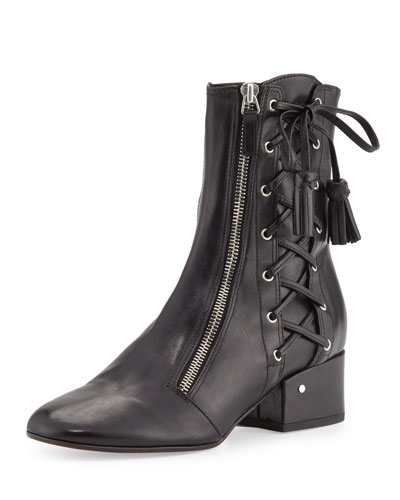 Marcella Side-Lace Leather Boot, Black