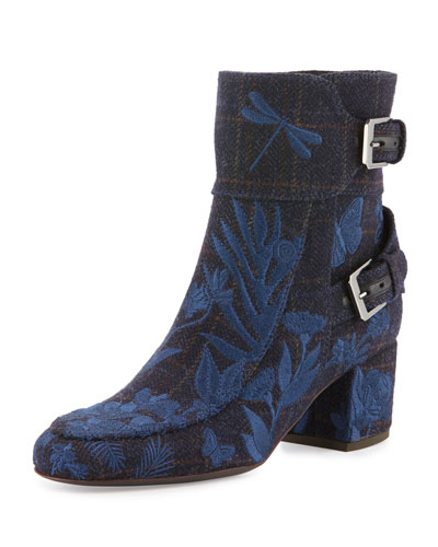 Babacar Embroidered Buckle 50mm Bootie, Blue