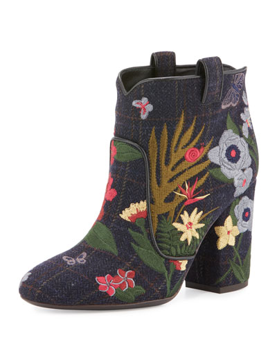 Pete Embroidered 95mm Bootie, Blue/Wine/Multi