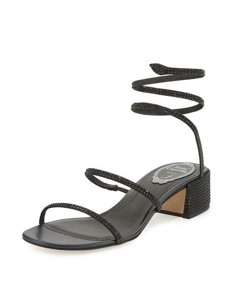 Rene Caovilla Crystal Snake 40mm Sandal, Black