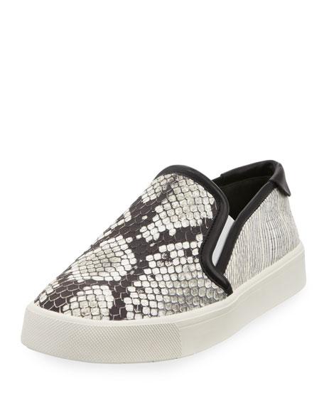 Vince Bram Snake-Embossed Slip-On Sneaker, Black/White