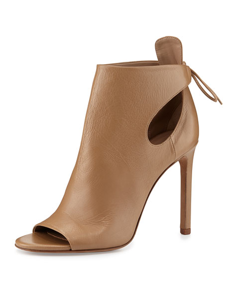 Gabrielle Leather Cutout Bootie, Sand