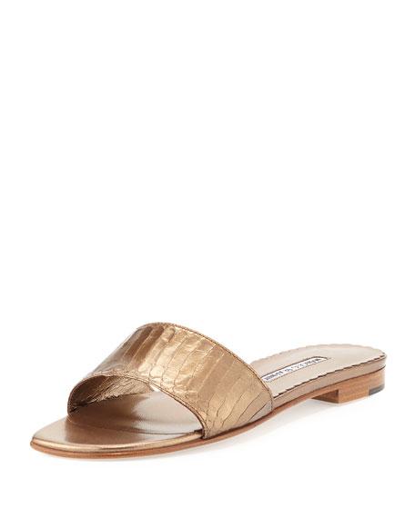 Manolo Blahnik Falco Snakeskin Slide Sandal, Bronze