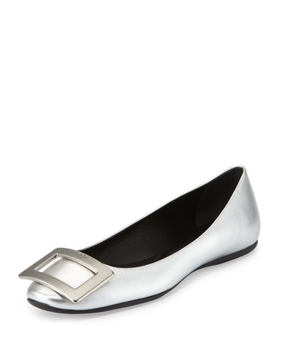 Gommette Buckle Leather Flat, Silver