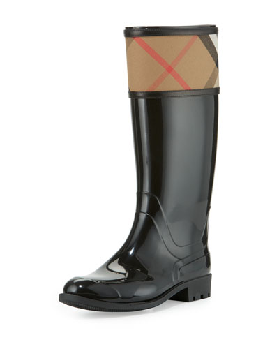 Crosshill Check-Trim Rain Boot, Black