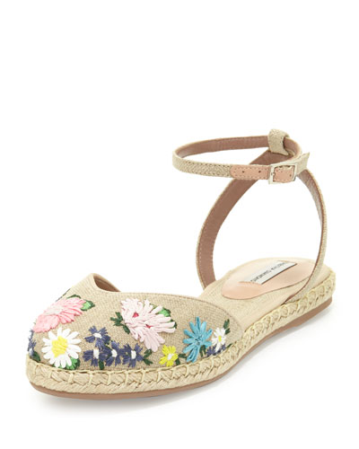 Dotty Meadow Embroidered Espadrille Flat, Linen/Multi