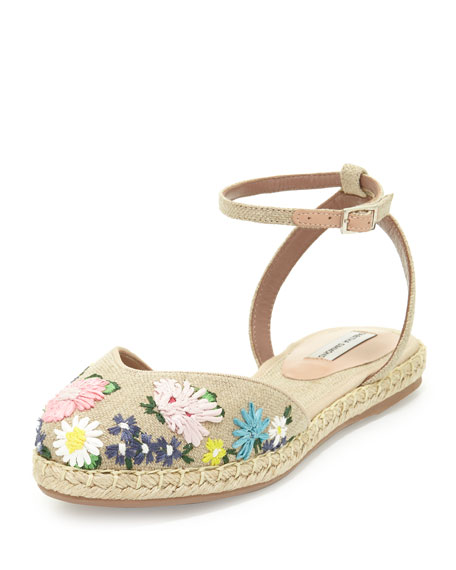 Tabitha Simmons Dotty Meadow Embroidered Espadrille Flat,