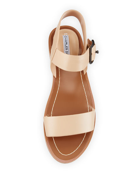 Zena Strappy Leather Sandal, Nude