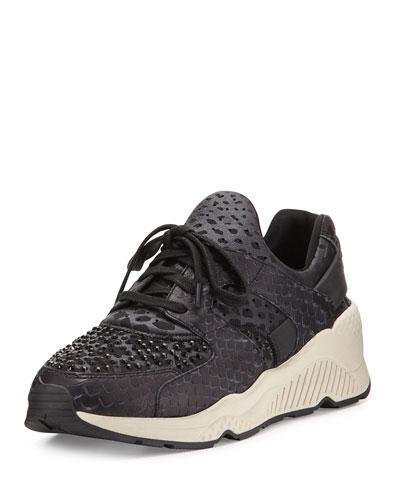 Mood Snake-Embossed Platform Sneaker, Black/Gun/Abate