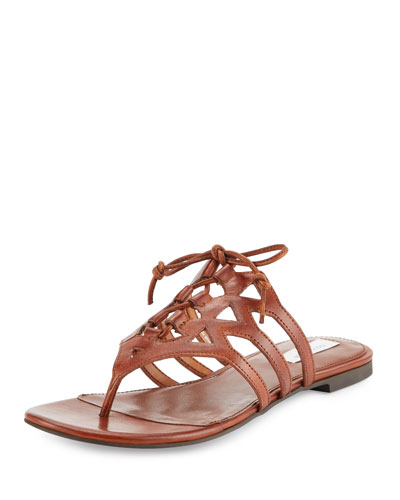 Claudia Leather Lace-Up Thong Sandal, Acorn