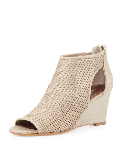Jace Perforated Wedge Sandal, Beige