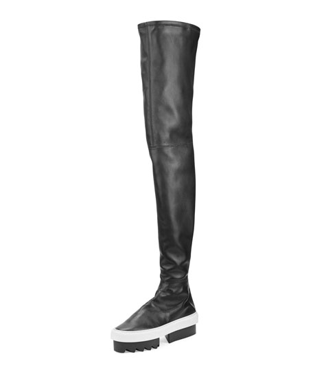 Givenchy Leather Platform Over-The-Knee Boot, Black