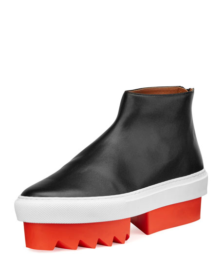 Givenchy Leather High-Top Platform Skate Sneaker, Black/Orange