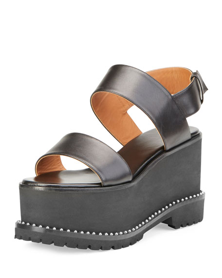 Givenchy Elegant Leather Wedge Sandal, Black