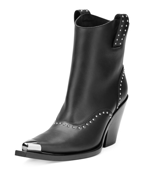 Givenchy Studded Leather Western Boot, Black