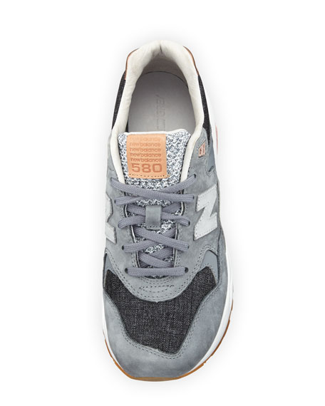 580 Suede Low-Top Sneakers, Gray