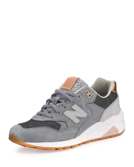New Balance 580 Suede Low-Top Sneaker, Gray