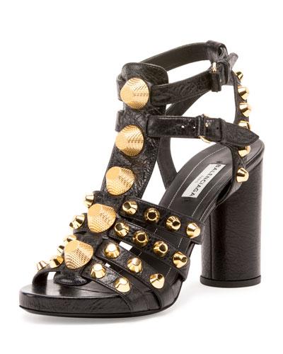 Studded Chunky-Heel Cage Sandal, Black (Noir)