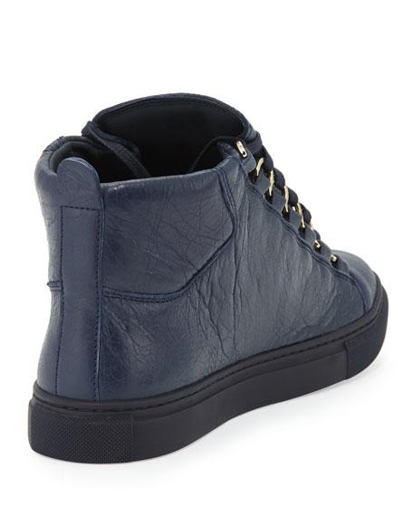 b5faa89d0 Balenciaga Arena Leather High-Top Sneaker, Navy