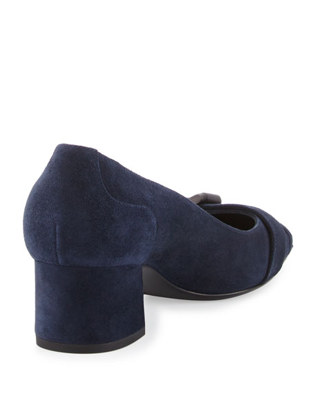 Suede Buckle-Toe 45mm Pump