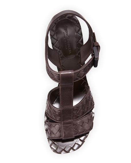Intrecciato T-Strap 80mm Sandal, Espresso
