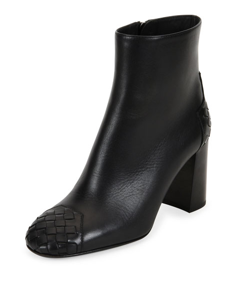 Bottega Veneta Intrecciato-Trim 80mm Ankle Boot, Nero