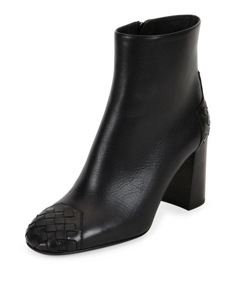 Bottega Veneta Intrecciato-Trim 80mm Ankle Boot, Nero