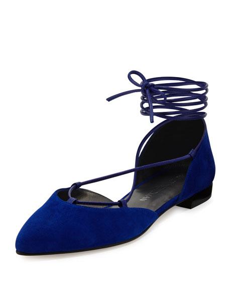 Stuart Weitzman Gilligan Lace-Up d'Orsay Flat, Electric Blue