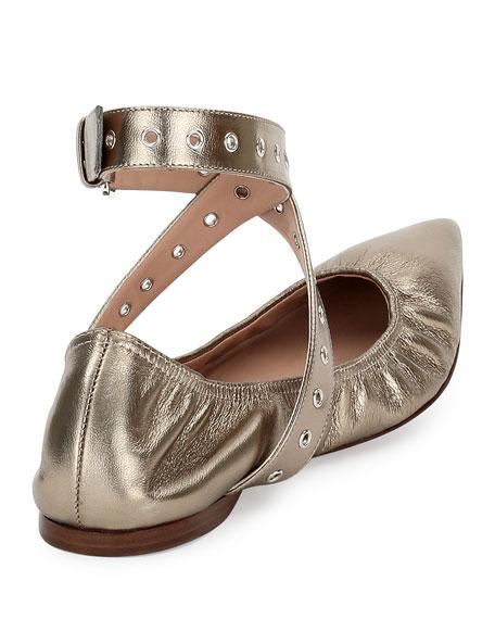 824ca4c3d6aec Valentino Garavani Love Latch Metallic Ankle-Wrap Flat, Alba