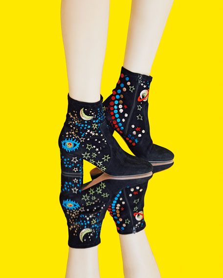 Astro Couture 100mm Suede Bootie, Nero/Multicolor