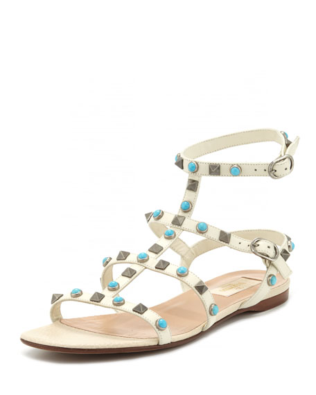 Valentino Garavani Rockstud Rolling Leather Flat Sandal, Light