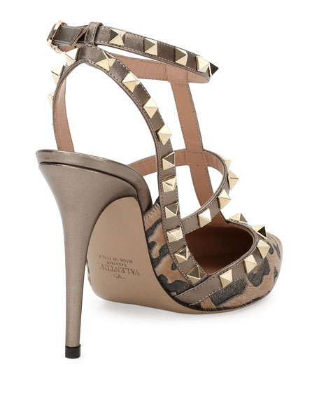Rockstud Calf-Hair 100mm Pump, Fucile/Al Campion