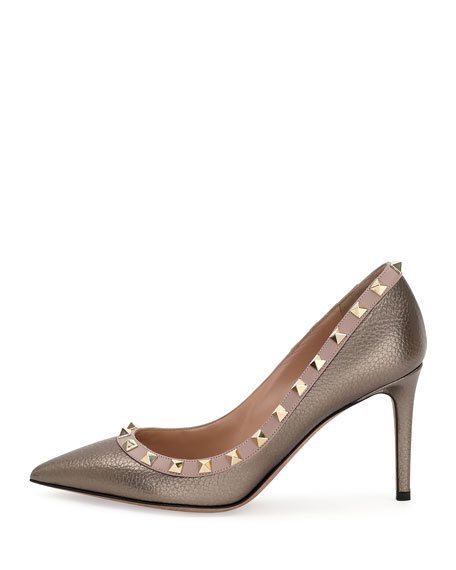 Rockstud Leather 85mm Pump, Sasso/Poudre