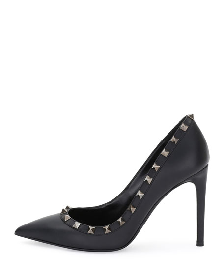 Image 2 of 3: Rockstud Leather 100mm Pump, Black (Nero)